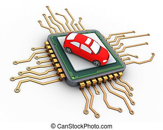 3d microchip - 3d illustration of microchip over white...
