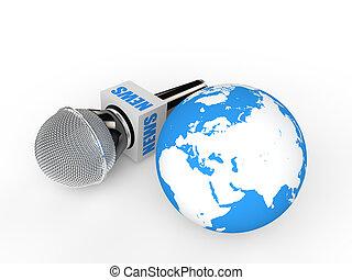 3d microphone and earth globe
