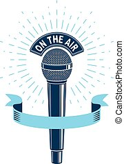 3d microphone vector illustration isolated on white. Radio...