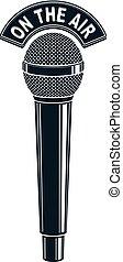 3d, mikrophon, vektor, abbildung, freigestellt, auf, white., radio sendung, concept., auf, der, luft.