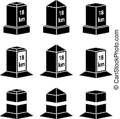 3d milestone black symbols