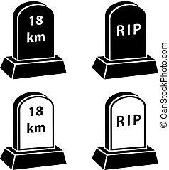 3d milestone tombstone black symbols