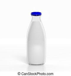 3D milk transparent glass bottle isolated on white