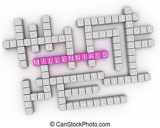 3d, millennials, concepto, palabra, nube