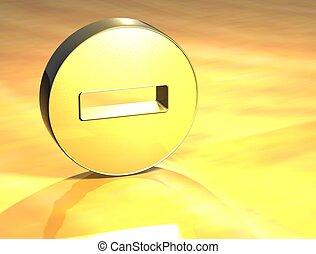 3D Minus Gold Sign