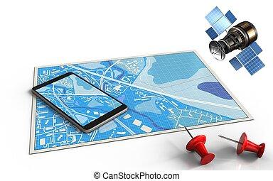3d mobile phone - 3d illustration of blue map with mobile...
