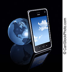three dimensional mobile phone and earth globe on black background