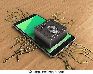 3d mobile phone - 3d illustration of mobile phone over...