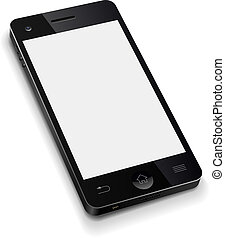 3D mobile phone template with blank white screen realistic vector illustration.