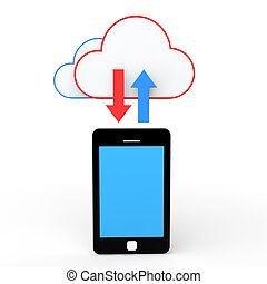 3d, mobilfunk, und, wolke, lagerung