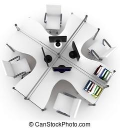 3d, mobilia, spazio ufficio