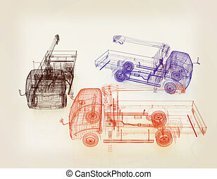 Transporteur, marchandises, semi, illustration, camion ...