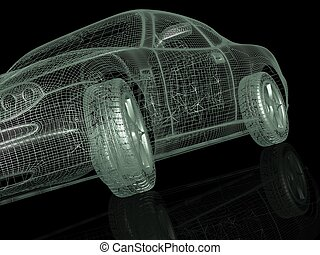 3d model cars on a black background