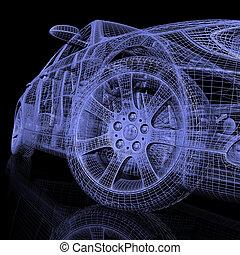 3d model cars on black background