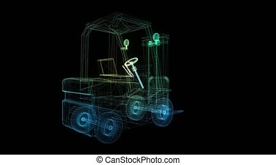 3d model Forklift from abstract polygonal line. The car of ...