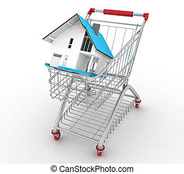 3d model house in a shopping cart