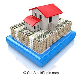 3d model house ?? stacks of dollar bills