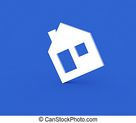 model house symbol - 3d model house symbol on a blue...
