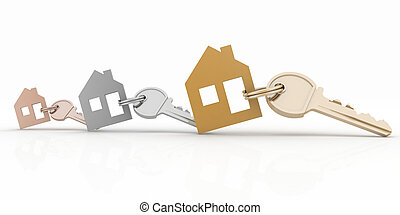 3d model house symbol set with key