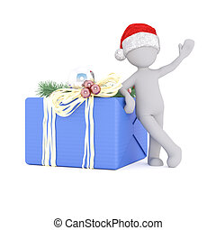 3d model lean on the christmas gift box