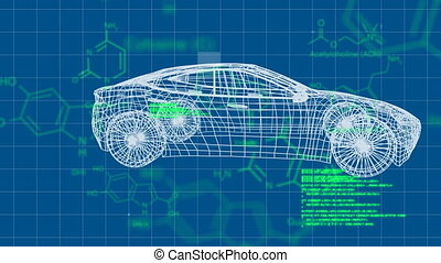 3D model of a car with molecular structures