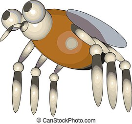 3D model of a fly, illustration, vector on white background.