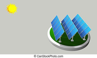 3D model of a group of solar panels following the path of the sun with white background  - Renewable Energy - 3D render
