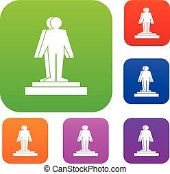 3d model of a man set color collection