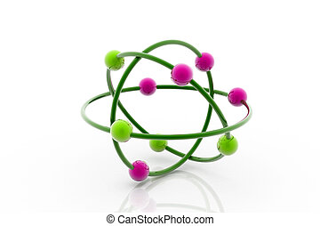 3d Model of a molecule from color spheres and rod