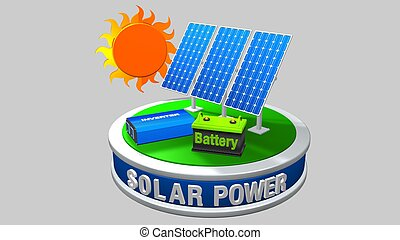 3D model of a solar energy equipment consisting of 3 solar...