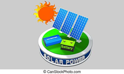 3D model of a solar energy equipment consisting of 3 solar panels, an inverter and a battery with the sun behind on a white background - Renewable Energy - 3D render