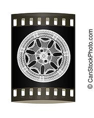 3d model of car wheel rims. The film strip