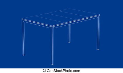 3d wire-frame model of dining table