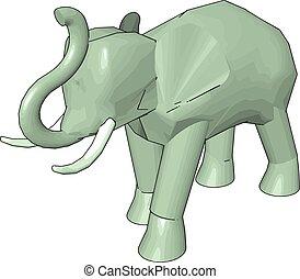 3D model of elephant, illustration, vector on white background.