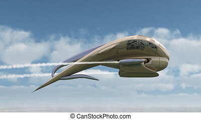 3D model of fantasy craft in teardrop pod shape flying over rural landscape