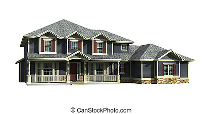 3d model of house - 3d model of two level gray siding house,...