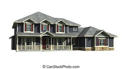 3d model of house - 3d model of two level gray siding house,...