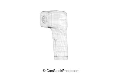 3D wire-frame model of infrared thermometer on white background