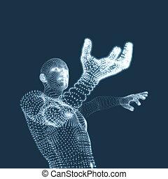 3D Model of Man. Human Body. Design Element. Vector...