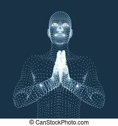3D Model of Man. Man who prays. Concept for Religion.
