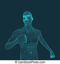 3D Model of Man. Polygonal Design. Geometric Design. Business, Science and Technology 3d Polygonal Covering Skin. Human Polygon Body. Human Body Wire Model.