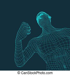 3D Model of Man. Polygonal Design. Geometric Design. Business, Science and Technology. 3d Polygonal Covering Skin. Human Polygon Body. Human Body Wire Model.