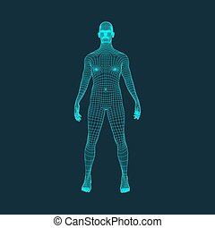 3D Model of Man. Polygonal Design. Geometric Design....