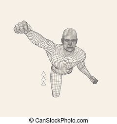3D Model of Man. Polygonal Design. Geometric Design. Business, Science and Technology Illustration. 3d Polygonal Covering Skin. Human Polygon Body. Human Body Wire Model.