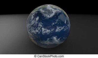 3d model of planet earth. Earth rotates on a white background