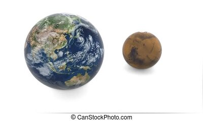 3d model of planet Mars and Earth. Earth rotates on a white...