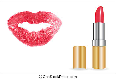 3D Model of realistic red lipstick with lip print.  Illustration.