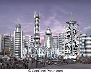 3d Model of Sci-fi city with futuristic skyscrapers and rusty domes