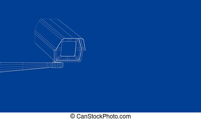 3d model of security camera - 3d wire-frame model of...
