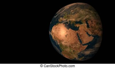 3D model of the Earth in darkness, illuminated by the Sun....